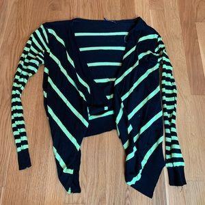 Wishlist Black/Neon Green Striped Cardigan